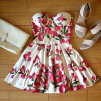 VINTAGE FLIRTY FLORAL BUSTIER DRESS