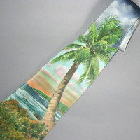 1950s HAWAIIAN NECKTIE / Wide Palm Tree Photo Print