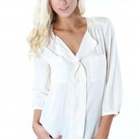 Cream Collar Blouse