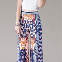 Royal Blue Orange Chevron Print Stretchy Waist Wide Leg Palazzo Pants