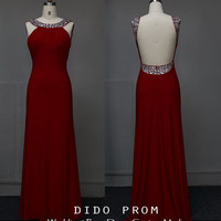 Custom Made Red Prom Dress,Open Back Prom Dress,Halter Prom Dress,Backless Prom Dress,Beaded Evening Dress