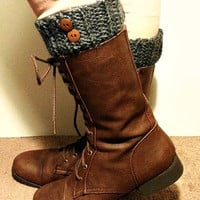 Boot Cuff with Buttons, Sale, Boot Cuff, Crochet Boot Cuff, Gray Boot Cuff, Grey Boot Cuff