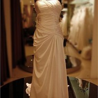 One shoulder Satin Pleated Lace Up Wedding Dress WDRL092 - Wholesale cheap discount price 2012 style online for sale.