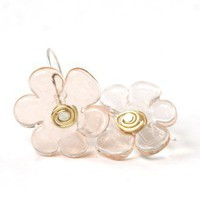 Flower Lampwork Glass Peach Sterling Silver Earrings Pierced | SusanSheehan - Jewelry on ArtFire