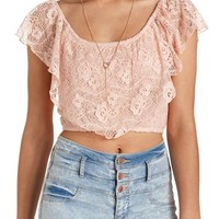 RUFFLED LACE FLOUNCE CROP TOP