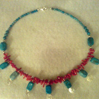 Turquoise JASPER and Red BAMBOO CORAL by jewelryandmorebyjb