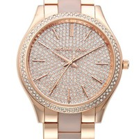 Women's Michael Kors 'Slim Runway' Pave Dial Blush Acetate Link Bracelet Watch, 42mm - Rose Gold/ Blush