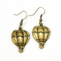 Hot Air Balloon Earrings - Antiqued Brass Vintage Style Hot Air Balloon Dangle Earrings - Bridesmaids Gifts Idea - CP091