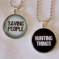 Saving People Hunting Things Necklace Set. The Family Business. Best Friends Necklace Set. Couples Necklace Set. 18 Inch Ball Chains.