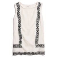 Linen-Front Embroidery Tank