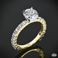 "18k Yellow Gold with Platinum Head ""Diamonds for an Eternity"" Diamond Engagement Ring"