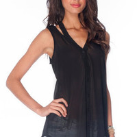 Lucky Button Down Tank Top in Black :: tobi
