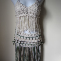 Crochet skirt, hip belt, Fringe hip belt, festival clothing, fringe skirt, gypsy, tribal dancing, belly dancing, overlay skirt