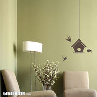 Bird house with Swallows Wall Decal
