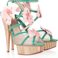 Charlotte Olympia Botanica flower-embellished suede and mesh sandals – 60% at THE OUTNET.COM