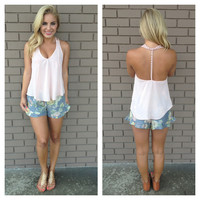 Rose Pink Flower Strap T-Back Tank