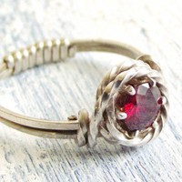 Genuine Almandine Garnet Sterling Wire Wrapped Ring | WestWindCreations - Jewelry on ArtFire
