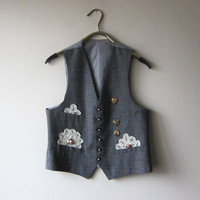 Vintage Modified Shabby Chic Gray Suit Vest with Buttons, Lace, and Roses! Mori Kei, Dolly Kei Dandy Fashion!