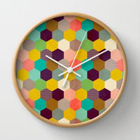 Fun Hexagon Wall Clock by Louise Machado