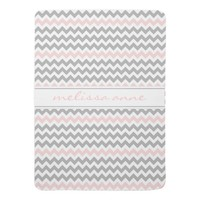 Gray Pink Chevron Baby Blanket