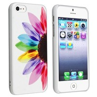 Leegoal(TM) White/Colorful Sun Flower Hard Case for iPhone 5 5S With Accessories Sreen Protector,Anti Dust Plug