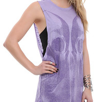 Teenage Runaway Purple Double Skull Girls Tank Top