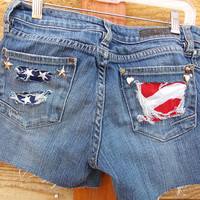American Flag Jean Shorts - Fox Brand Denim - Distressed Look - Studded