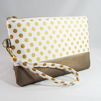 Gold polka dot clutch, wristlet, metallic leather, white, gold metal zipper, polka-dot wrist strap
