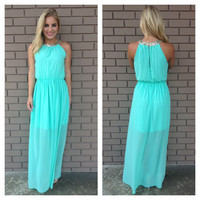 Mint Sequin Neckline Maxi Dress