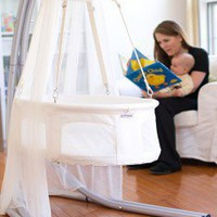 Dreambur Designer Hanging Bassinet with Grow Stand - Designer Hanging Bassinet - Furniture