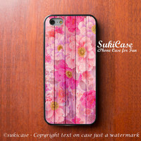FLORAL IPHONE 5S CASE Pink Chinese Flower Wood Texture iPhone Case iPhone 5 Case iPhone 4 Case Samsung Galaxy S4 S3 Case iPhone 5c iPhone 4s