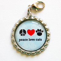 Peace Love Cats zipper pull by KellysMagnets