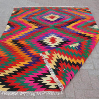 "VINTAGE Turkish Kilim Rug Carpet, Handwoven Kilim Rug, Antique Kilim Rug,Decorative Kilim, Natural Wool 63"" X 86.5"""