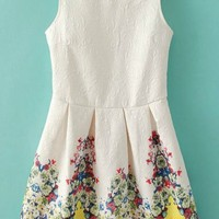 Floral Jacquard Sleeveless Dress - OASAP.com