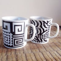 Pair of Vintage Black and White Op Art Mugs