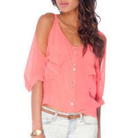 Brooke Button Down Blouse in Coral :: tobi