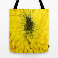 Fluffy Yellow Chrysanthemum Close-up  Tote Bag by DaddyDan