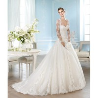 Glaring Sweep Bateau Neckline Ball Gown Taffeta Wedding Dress