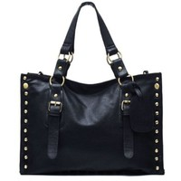 Metallic Hoop Rivets Large Black Purse Tote Handbag Shoulder Bag