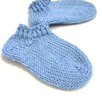 Short baby blue ankle socks, soft wool spring socks, choose size newborn, 3-6 month, 6-12 month, 1-1.5 year , choose heart color