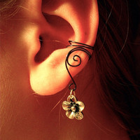 Ear Cuffs with Flower Charm, no piercing needed by jhammerberg