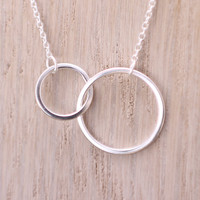 925 sterling silver double circle / double ring interwined forever / eternity necklace