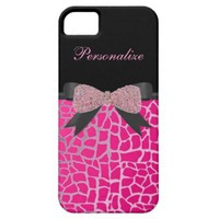 Monogram, Diamond Bow, Giraffe Print iPhone 5 Case