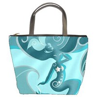 Blue Mermaid Bucket Handbag
