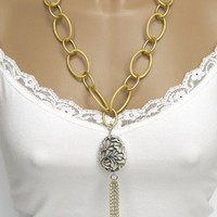 Long Gold Chain Necklace With Silver Pendant and Tassel Handmade