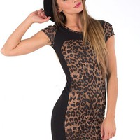 Black Cheetah Print Mini Dress