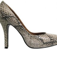 Gray Snakeskin Platform Stiletto Shoe