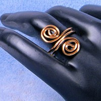 Copper Wire Sculpted Spiral Ring