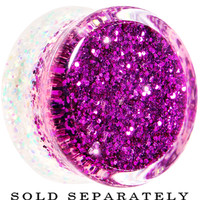 20mm Purple Pink White Acrylic Glitter Party Saddle Plug | Body Candy Body Jewelry