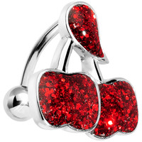Red Glitter Double Cherry Top Mount Belly Ring | Body Candy Body Jewelry